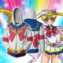Sailor Moon Cosplay Costume Sweatshirts Hoodie Anime Jackets For Women Top 3D Print Coat