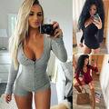 Womens Sexy Solid Mini Playsuit Ladies Jumpsuit Fashion Bodysuit Shorts Mini Black Grey Bodysuit