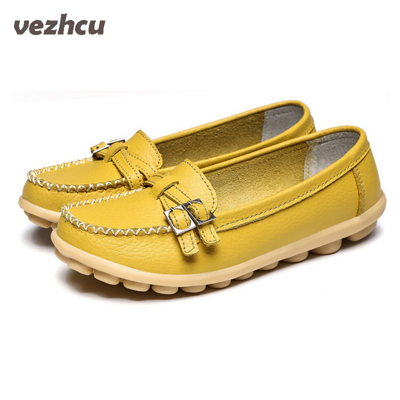 VZEHCU New Casual Loafers Fashion Women Flats Genuine Leather Peas Slip On Comfortable Flat Shoes Woman  6d51 soft pu leather women flat shoes casual driving loafers flats moccasins slip on comfortable buckle woman shoes new fashion sdt08