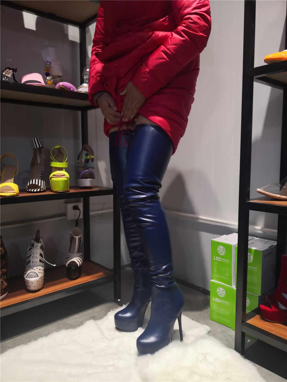14 renk Marka yeni yüksek kalite Büyük Boy 35-47 Seksi Kadın Ayakkabı parti ince Yüksek Topuklu üzerinde diz Çizmeler uzun çizmeler Kadın 2019