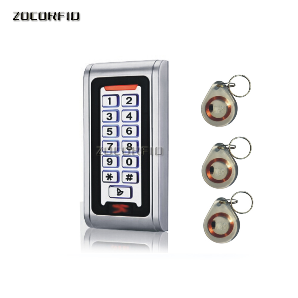 Free shipping S-600 metal shell &P6 waterproof EM125KHZ RFID +password access control Keyboard DC-12V +10 pcs crystal keytags