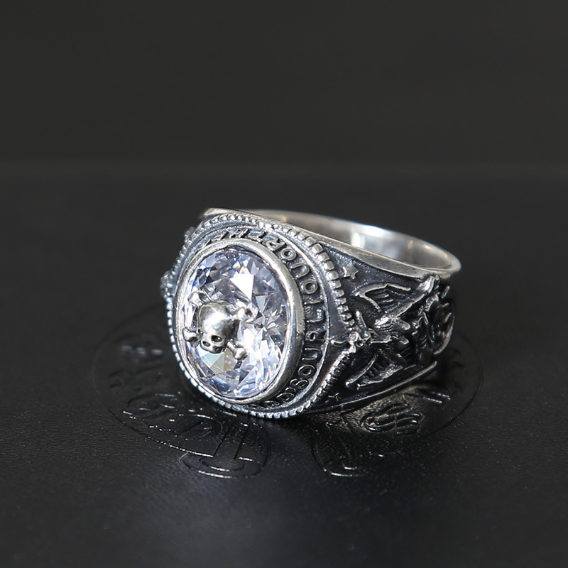 S925 sterling silver fashion vintage Thai silver spider white zircon personality male ring s925 sterling silver vintage six buddhist mantra rotating personality ring ring and old thai silver jewelry