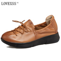 LOVEXSS Genuine Leather Flats Lace Up Black Brown Casual Loafers Woman Girl Flats 2017 Spring Fashion