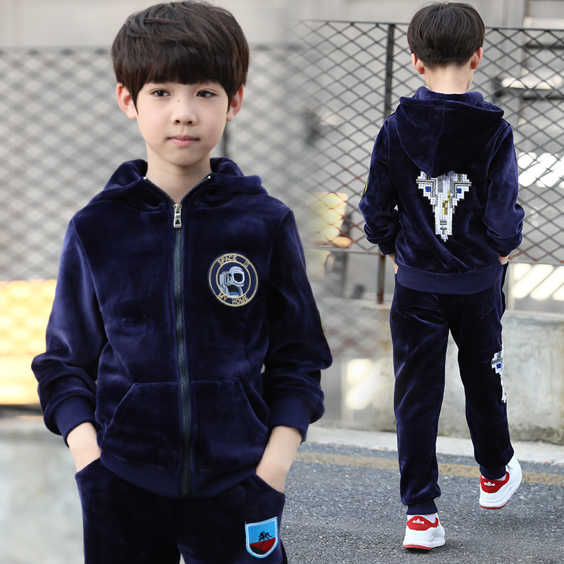 Children's Sports Suit Autumn Winter Toddler Boy Clothes 2018 Long Sleeve Hooded Jackets + Pant 2pcs Vetement Enfant Garcon 8 10 hooded long sleeve color spliced hoodie and pant suit for women