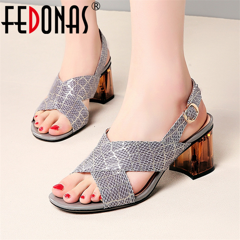 FEDONAS Summer Sexy Sandals Women New Sqaure High Heels Striped Lattice Concise Pumps Prom Dress Shoes