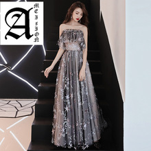 Ameision Evening Dress Full Stars Pattern Shining Fashion Formal Dresses Boat Neck Ruffles Elegant Long Slim lady Party Gown
