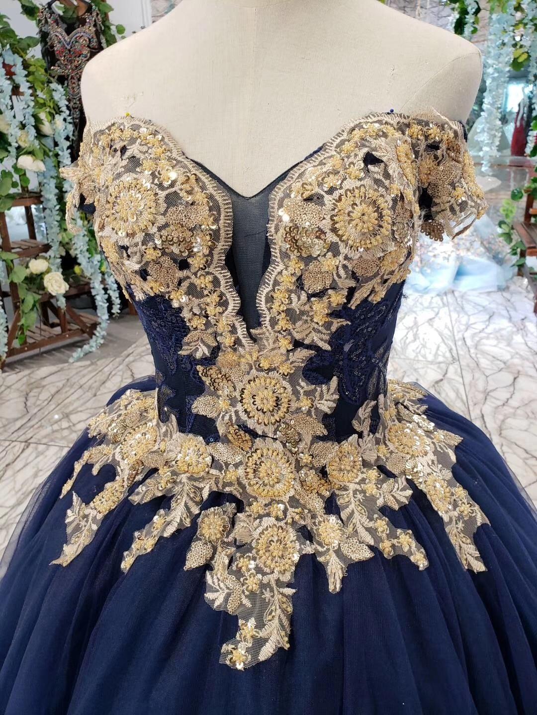 2019 longueur de plancher hors de l'épaule or perlé broderie corsage scintillant bleu marine jupe longues robes de bal - 3