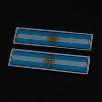Pair 2x Argentina AR Flag Metal Car Truck Body Fender Badge Decal Sticker Emblem
