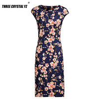 Three Crystal Yz 2017 New Women Dress Fashion Floral Print Work Business Casual Party Summer Sheath