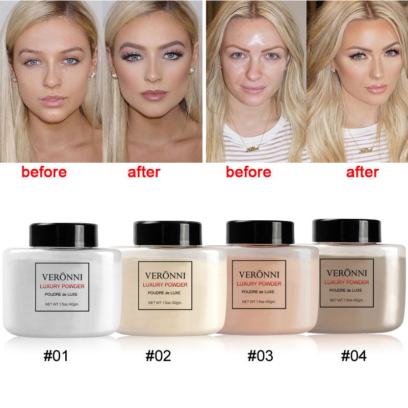 VERONNI 4 Colors Loose Luxury Powder Translucent Banana powder Professional Foundation 42g Makeup Baking Face powder Mineral image
