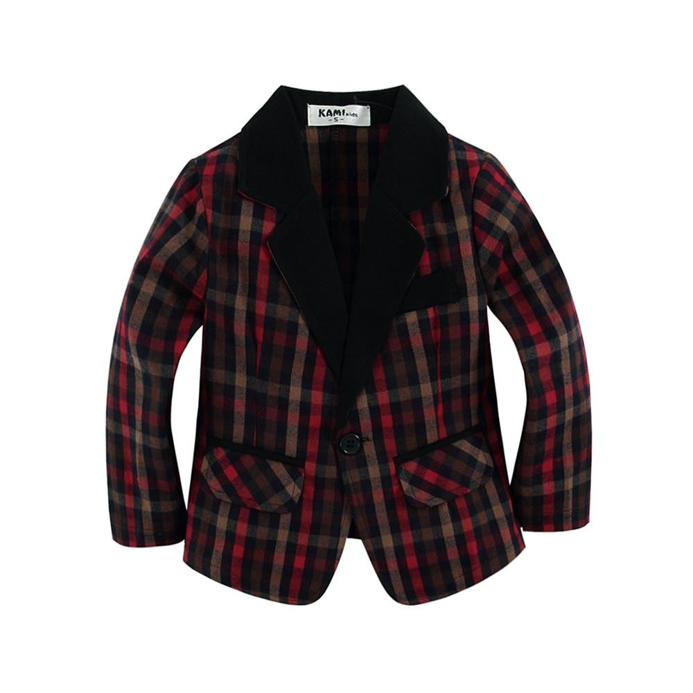 新しい到着の編まれた綿100%幼児男の子のブレザーかわいい格子縞の生地が付いている赤いタイプ