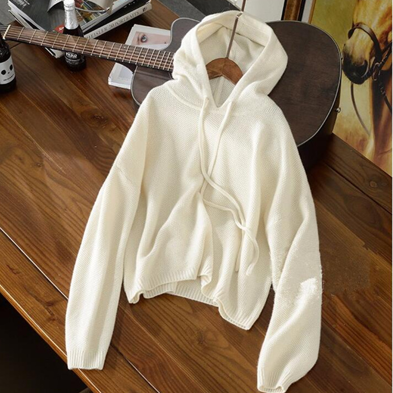 Smpevrg women sweaters and pullovers long sleeve with hat casual warm cashmere sweater women pullovers ladies