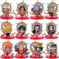 12PCS/Pack Anime One Piece Luffy Tony Chopper Ace Hancock Meninos 8cm PVC Action Figure Collection Model Toys