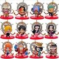 12PCS/Pack Anime One Piece Luffy Tony Chopper Ace Hancock Meninos 8cm PVC Action Figure Collection Model Toys