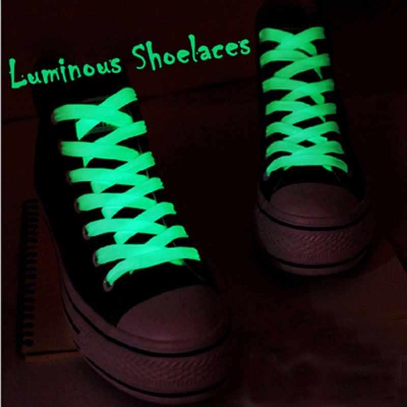 1 PAIR 100 cm parıltılı ışıltı Karanlık Ayakkabı Bağı Düz Atletik Spor Çizmeler Ayakkabı Danteller Strings Adam Kadın Ayakabı ücretsiz nakliye
