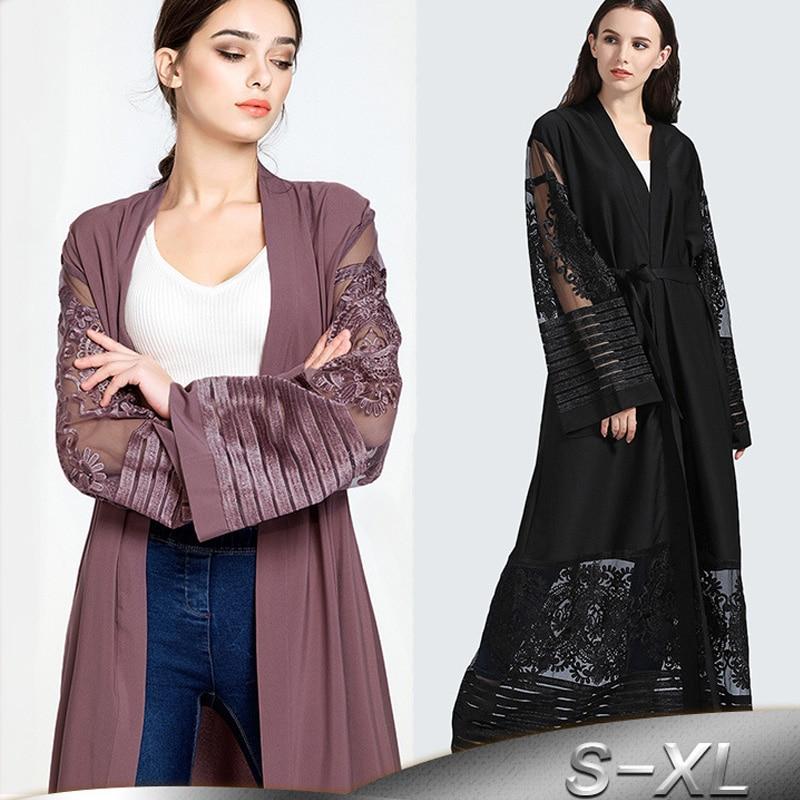Plus Size Autumn Blusas Mujer De Moda 2019 Abaya Women Long Chiffon Lace Cardigan Kimonos Mujer Roupa Korean Fashion Clothing