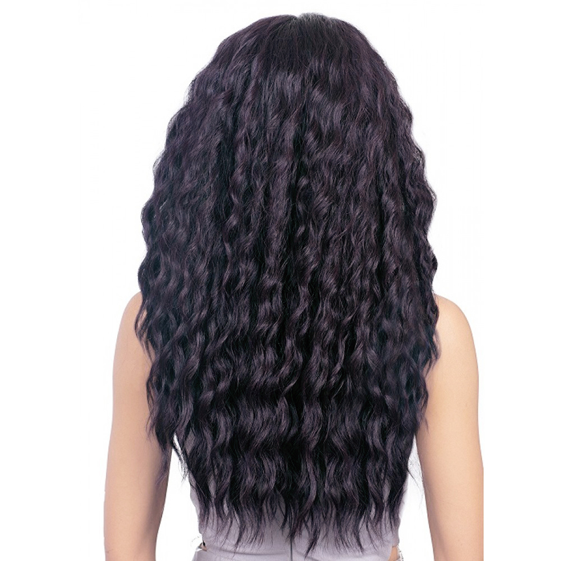 DLME Malaysian Hair Glueless Lace Front Wigs Deep Wave With Bleached Knots Ponytail Black Color 150% Density No Shed Synthetic