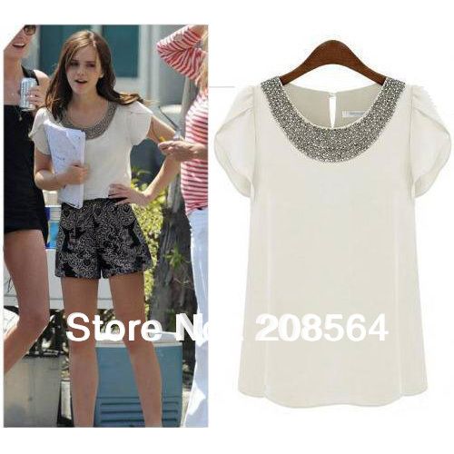 New Arrival Beading Butterfly Sleeve Chiffon Blouse O-neck Casual Chiffon Blouse Tops 5566