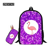 ZRENTAO new animal backpack polyester mochilas with Pencil bags musical note print bag for girls 2 PCS/Set boys schoolbags