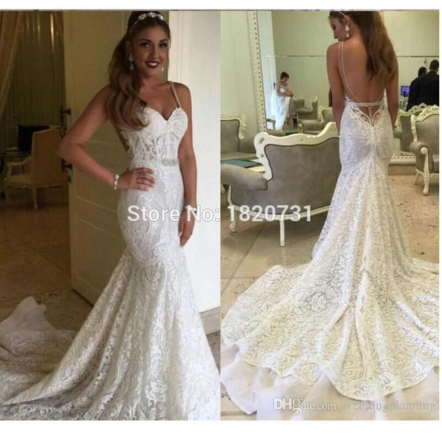 7e1e33133cfe1 Sexy Berta 2019 Backless Wedding Dresses Autumn Mermaid Full Lace Bridal  Dresses Garden Beach Wedding Gowns Sheer Chapel Train-in Wedding Dresses  from ...