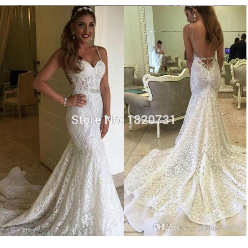 Sexy Berta 2020 Backless Wedding Dresses Autumn Mermaid Full Lace Bridal Dresses Garden Beach Wedding Gowns Sheer Chapel Train