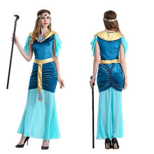Egyptian Pharaohs Halloween Costumes Female Long Section Performance Party Dress Adult Arab(China)
