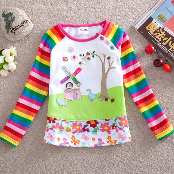 Free shipping 5pcs/lot cotton casual style girl's rainbow long sleeve t shirt with cartoon pattern and patchwork floral cloth