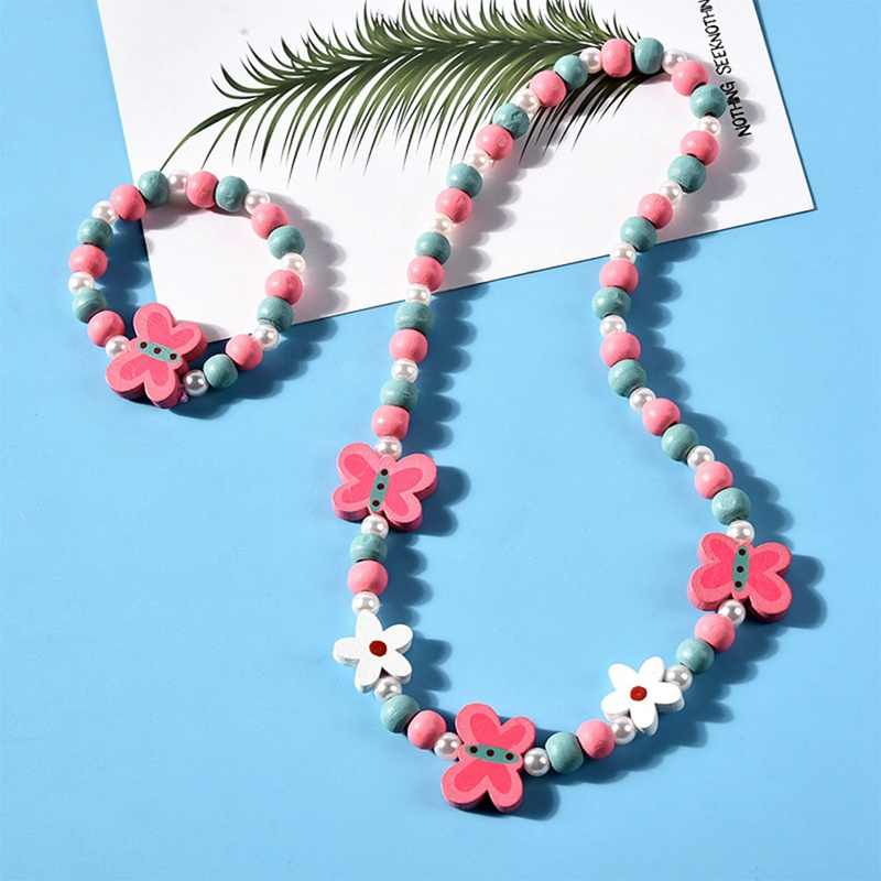 Cartoon Rabbit Animal Flower Wood Beads Girls Jewelry Set Kids Children Girls Necklace Bracelet Set Birthday Party Jewelry Gift