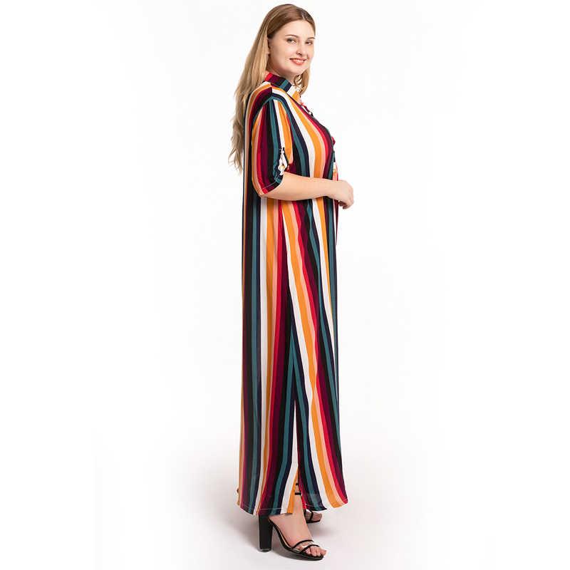 Vestidos Mujer Verano 2019 Plus rozmiar lato moda kobiety Maxi koszula w paski sukienka Rainbow kolorowe sukienka Vestido Longo Elbise