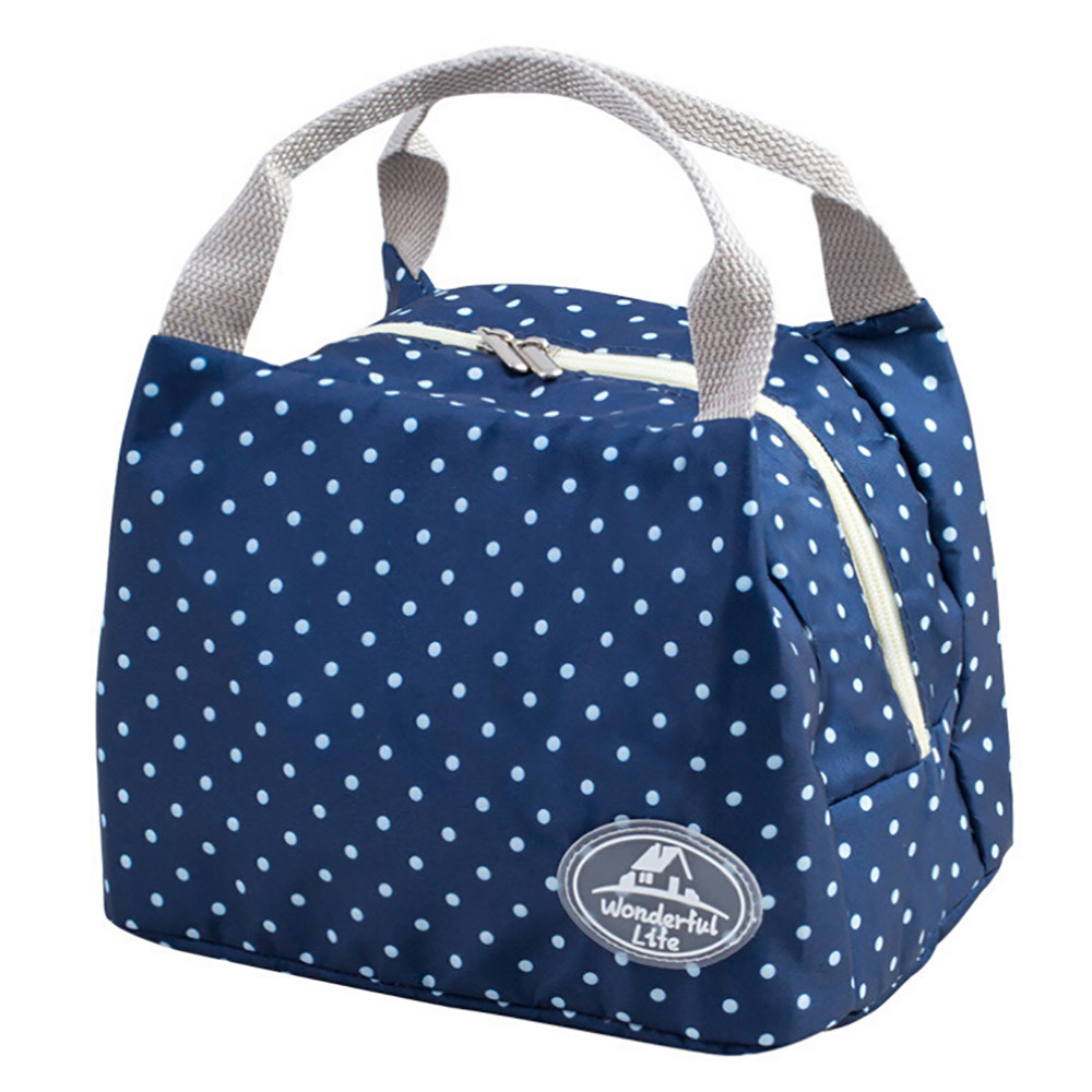Striped Dot Portable font b Lunch b font font b Bag b font Thermal Insulated Cold