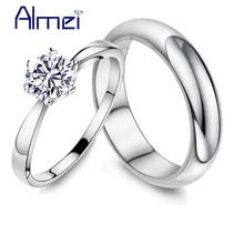 Almei 49% off Silver Color Pair Rings for Men and Women Wedding Band Lovers Fashion Crystal Couple Ring Anel Zircon Jewelry J063