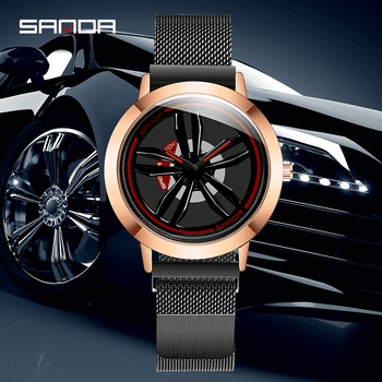 SANDA Men's Rotating Wheel Dial Fashion Quartz Watches