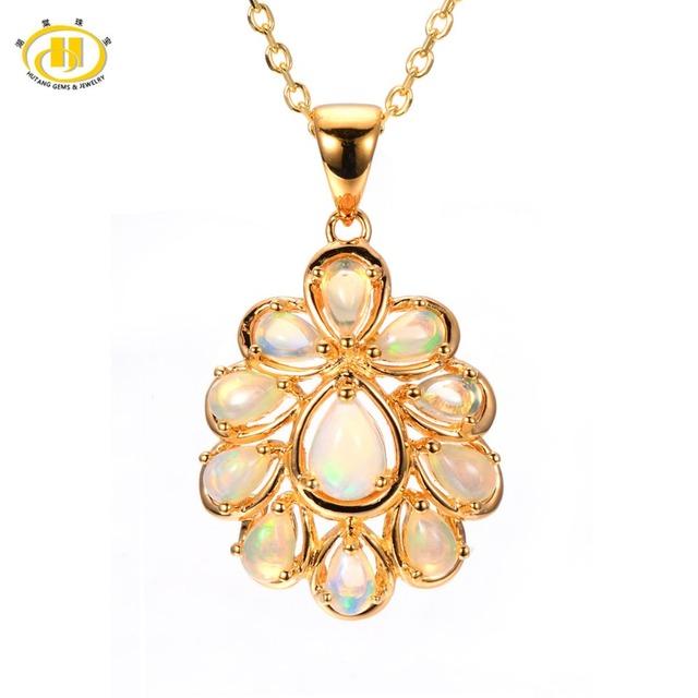 Hutang Genuino White Opal Colgante Esterlina del Sólido 925 de Plata Collar de la Mujer Mejor Regalo de Joyería Fina Cadena Libre