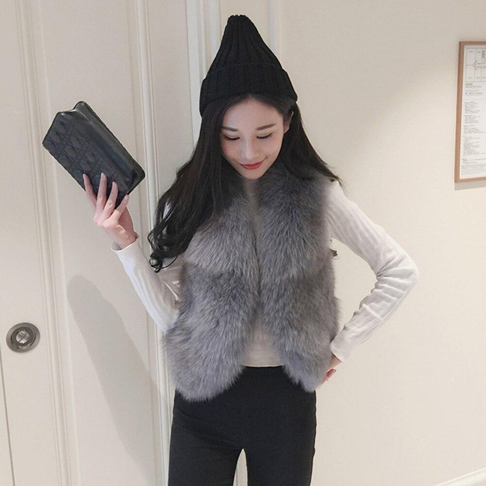 Mujer Mangas Piel Sin De Chaquetas Elegante Grande Chaleco Chalecos Abrigo negro Imitación Talla Blanco 2018 Abrigos Invierno Abrigado Grueso Falsa gris Zorro YvwwTqBx