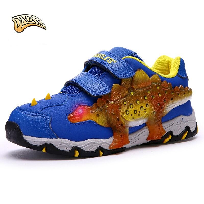 Dinoskulls 2018 boy glowing dinosaur sneakers children led shoes boy kids sports shoes Tenis Infantil Sneakers 27-34# fashion kids flat canvas bebe sneakers kinder children shoes girl boy enfant chaussure enfant tenis infantil sapato infantil