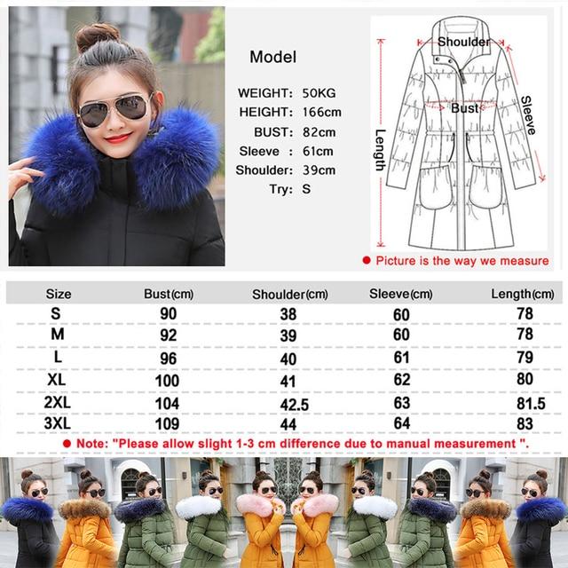 Winter Jacket Women New 2018 Coats Artificial raccoon hair collar Female Parka black Thick Cotton Padded Lining Ladies S-3XXXL 4