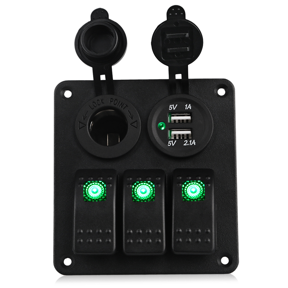 12v Circuit Breaker Panel Boat Marine USB Rocker Switch Waterproof 5V Dual USB Socket Charger Cigarette Lighter Led Switch Panel 8 gang rocker switch panel voltmeter 12v 24v dual usb charger cigarette lighter socket boat car rocker waterproof hot