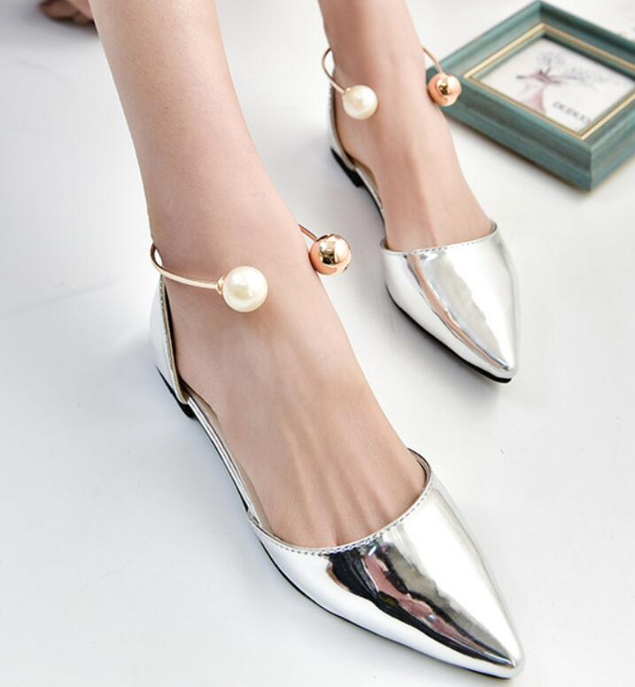 Flats Woman 2017New Arrival bead decoration Pointed toe Women Shoes High Quality Comfortable Flat Shoes zapatos mujer Size 35-39 2017 fashion women shoes woman flats high quality casual comfortable pointed toe rubber women flat shoes plus size 35 42 s097