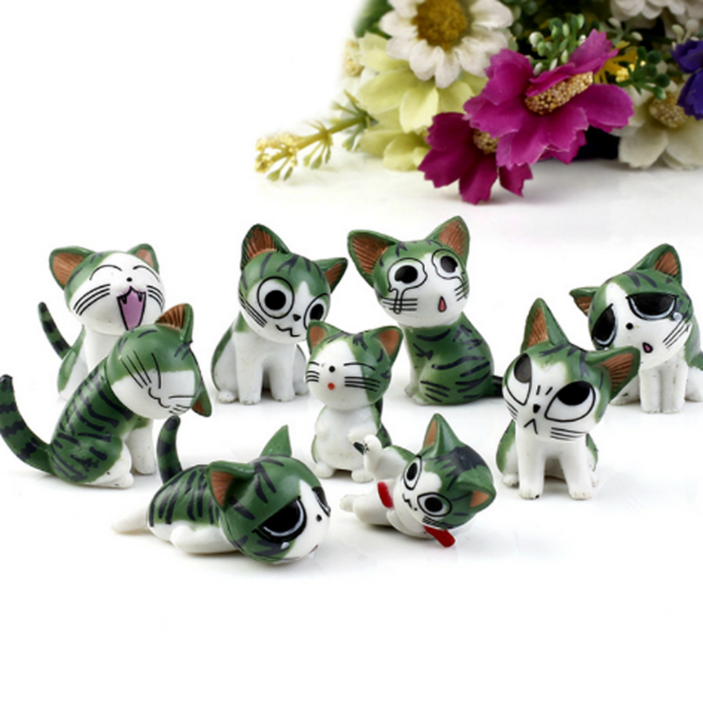 9pcs/lot Creative Cat Doll Mini Japan Small Place Christmas Birthday Present Anime Figure Cheese Cat Toy Doll image