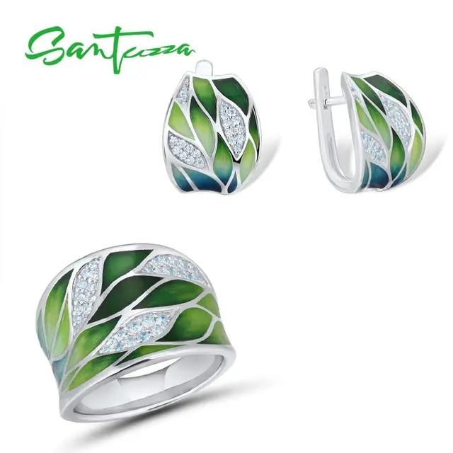 SANTUZZA 925 Silver Jewelry Set For Women Green Bamboo leaves Dazzling CZ Earrings Ring Set Elegant Fine Jewelry Handmade Enamel