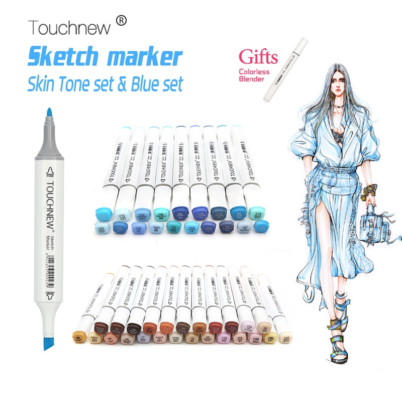 Touchnew 20/24/168 Colors Pen Skin Tone Marker Blue Set Dual Head Sketch Markers Pen For Drawing Portrait Animation Art Supplies sketch marker pen 218 colors dual head sketch markers set for school student drawing posters design art supplies
