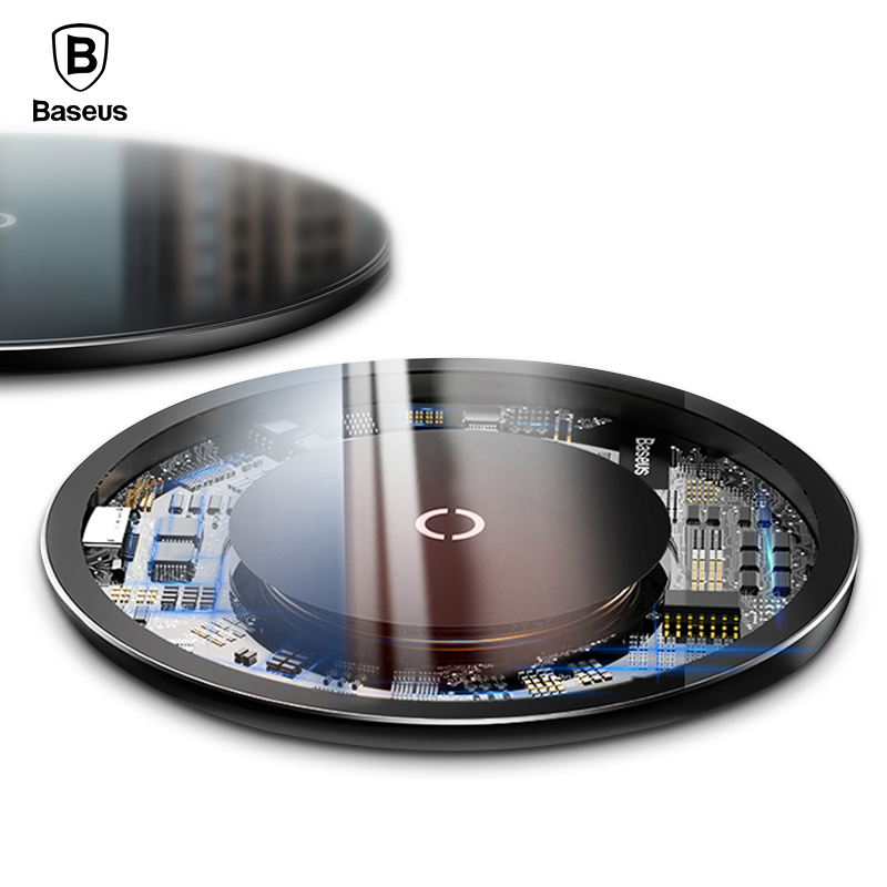 Baseus 10W Qi Wireless Charger For iPhone X 8 Glass Panel Wirless Charging Pad For Samsung S9 S8 Wireless Charging Charger Pad
