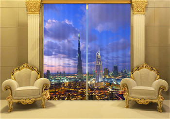 City by the Sea 3D Blackout Window Curtains For Living room Bedding room Hotel/Office Curtain Drapes Cortinas para sala