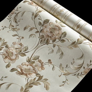 Beibehang European-style flowers AB stripes Embossed carved wall paper Marriage room high-quality 3D wallpaper roll papier peint