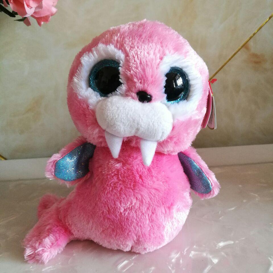 Tusk pink walrus TY BEANIE BOOS 1PC 15CM BIG EYE Stuffed animals plush toys  KIDS TOYS VALENTINE GIFT decoration children toy 077f796014c4