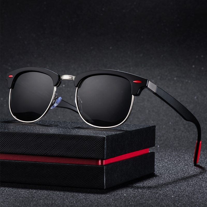New Polarized Men's Sunglasses UV400 Square Half Metal Frame Fashion Ladies Sunglasses Brand Design Glasses Driving Sunglasses