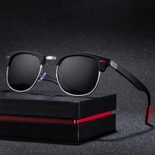 New polarized mens sunglasses UV400 square half metal frame fashion ladies brand design glasses driving