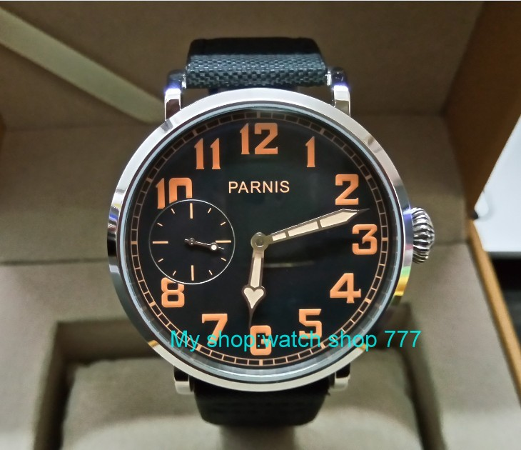 46mm parnis Black dial Asian 6497 17 jewels Mechanical Hand Wind movement men watch luminous Mechanical watches zdgd191a limited edition watch 50mm big dial parnis men s watch asian 6498 mechanical hand wind pvd black watchcase 84aa
