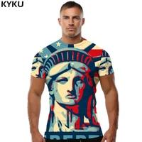 KYKU America maglietta Usa T-Shirt Statua Della Libertà camicie Vestiti Tees Tops Uomini Roccia Top Tee Ftness Nuovo