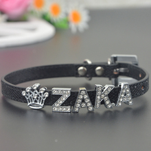 Pet Personalized Collar 10MM Bling Leather Free Name Customized